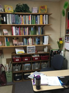 I'm so happy to have room for my downsized book collection (down from over 2,000 when I had my classroom!)  On the top are my professional books. The shelf on the bottom holds mostly my K-5 picture books. The shelf along the opposite wall (by the door) holds my chapter books and nonfiction.