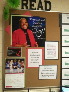 "Oh, how I love Rita Pierson's Ted Talk called ""Every Kid Needs a Champion"". I used PicMonkey and our poster machine to make the poster in the corner with a quote from that Ted Talk. It says, ""Teaching and learning should bring joy!"""